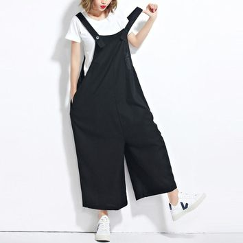 ZANZEA Women Oversized Wide Leg Dungaree Baggy Jumpsuits Overalls Fashion Sleeveless Casual Loose Harem Long Pants Trousers