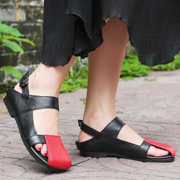 2018 Fashion Flat Bottom Beach Shoes Flat Women Sandals Ankle Strap Genuine Leather Casual Shoes Women For Summer
