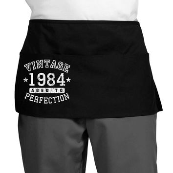 Vintage Birth Year 1984 Dark Adult Mini Waist Apron, Server Apron