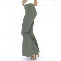 Daring Flare Bell Bottom Pants In Pale Olive