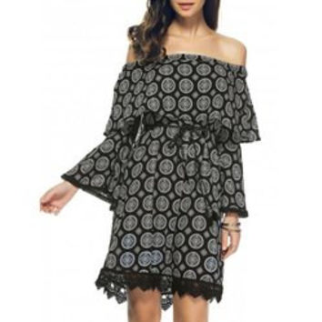 Stylish Off The Shoulder Print Bell Sleeve Crochet Trim Dress