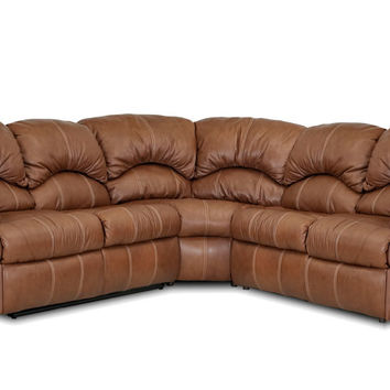 3-Piece True Sectional Leather Sleeper Sofa with Reclining Loveseat