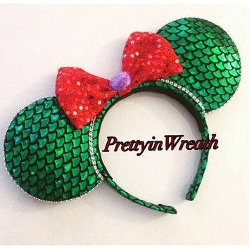 Ariel inspired Mickey Mouse ears headband