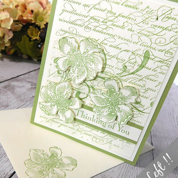 Thinking of You Card, Friend , Friendship, Handmade Greeting Card, Paper Goods, Floral, Green and Cream, Vintage Greeting Card, French