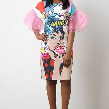 Bang Pop Art Print Mesh Sleeve Dress