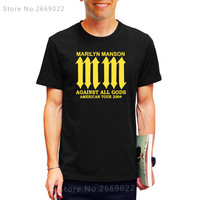 Printed Mens Men T Shirt Tshirt Marilyn Manson Goth Rock Against All Gods Short Sleeve Cotton T-shirt