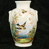 Old Paris Porcelain Vase Transferware Outstanding Antique Vase Birds Hand Painted Circa Mid to Late 1800s Nature Botanical French France