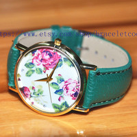 Peony Artificial leather Watch, Fashion Wrist Watch Retro Style Women's Watch  CP78
