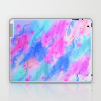 SEEING STARS 1 - Light Blue Pretty Starry Sky Abstract Watercolor Painting Lovely Feminine Pattern Laptop & iPad Skin by EbiEmporium | Society6