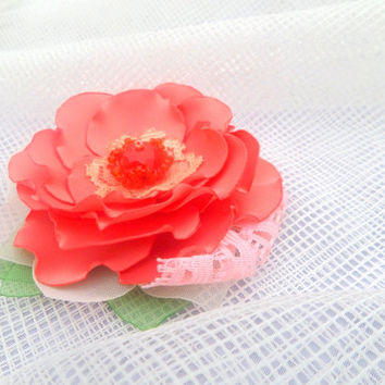 Clip for hair,Coral red rose, Flower in hair, Wedding, Bridal hair clips, Accessories hair, Girl flower,Small coral flower