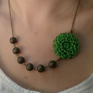 Green flower bib necklace- Asymmetrical necklace- Antique bronze necklace- Beaded necklace-Green flower necklace- Filigree bead necklace