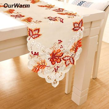 OurWarm Wedding Table Decoration Maple Leaves Embroidered Table Runners Thanksgiving Fall Wedding Party Supplies 38X170cm