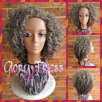 READY To SHIP // Kinky Curly Half Wig, Ombre Gray Wig, Curly Gray Wig, Silver Wig // GUIDANCE