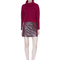 Tobin Cable Cropped Turtleneck Sweater   Alice + Olivia