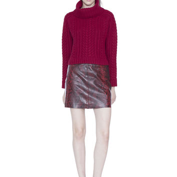 Tobin Cable Cropped Turtleneck Sweater | Alice + Olivia