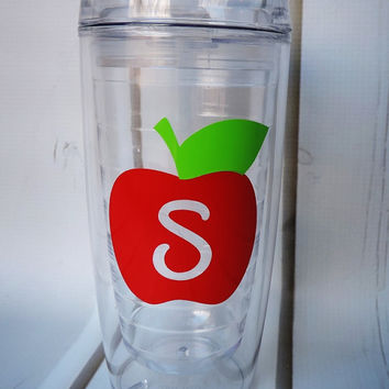 Teachers Gift! Personalized Tumbler, Apple Tumbler Cup