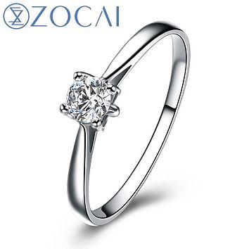 ZOCAI Natural 4 Prongs Setting 0.20 CT Certified H / SI Diamond Engagement 18K White Gold Ring W00099