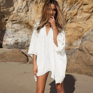 PEAPGC3 Women's Beach Tunics Long Cardigan Beach Cover Up Kaftan White Beachwear For Women Bikini Cover Sexy Girls Swimsuit Cover Up