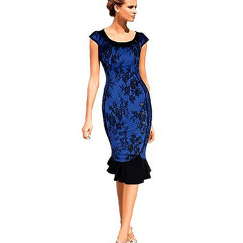 New 2016 Womens Vintage Elegant Formal Lace Button Patchwork Tunic Wear To Work Party Mermaid Midi Pencil Wiggle Bodycon Dress