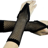 One Finger Black Sexy Fishnet Gloves Fingerless