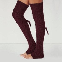 USA For Women Girls Winter Long Leg Warmers Knit Crochet Socks Legging Stocking