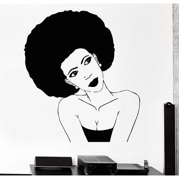 Vinyl Wall Decal Afro Hairstyle Black African Woman Hair Stylist Salon Beauty Stickers Unique Gift (785ig)