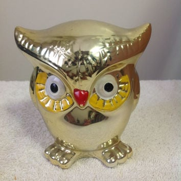 Vintage Gold Colored Owl Change Bank from Japan
