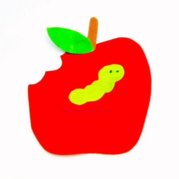 Red Apple with Worm and a Bite  Iron On Appliques - No Sew - Great for Onesuit - Patch - Transfer