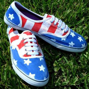 Stars and Stripes Custom Canvas Shoes Vans Style