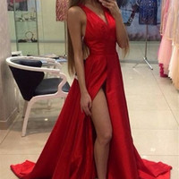 Fashion new deep V sexy Slim evening dress red fashion was thin dinner toast service dress