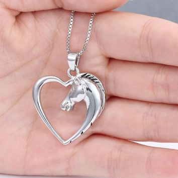 Hollow Heart Horse Pendant Necklace Silver plated Horse in Heart Necklace Christmas Birthday Gift