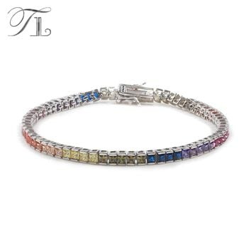 TL Real 925-Sterling-Silver Bangle Bracelets For Women Inlay With Cut Multi-color Cubic Zirconia Crystal Bracelet Silver Jewelry
