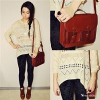 Sheinside Beige Geometric Eyelet Embellished Knit Jumper Sweater