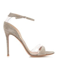 Plexi open-toe suede and PVC sandals