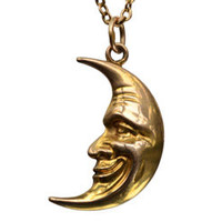 1890-1900s Man in the Moon Pendant Necklace, 9K, 10K Vintage Chain : Erie Basin Antiques