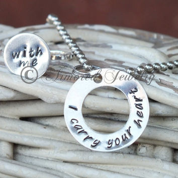 I carry your heart with me washer pendant and ring set