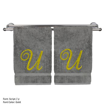 Monogrammed Hand Towel, Personalized Gift, 16 x 30 Inches - Set of 2 - Gold Embroidered Towel - Extra Absorbent 100% Turkish Cotton - Soft Terry Finish - For Bathroom, Kitchen and Spa - Script U Gray