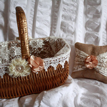 Gold Flower Girl Basket and burlap Ring Bearer pillow Set