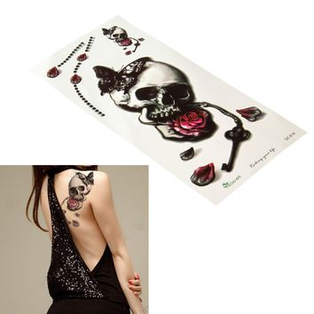 Skull Tattoo Sticker Removable Waterproof Rose Butterfly Temporary Tattoo Body Art Sticker