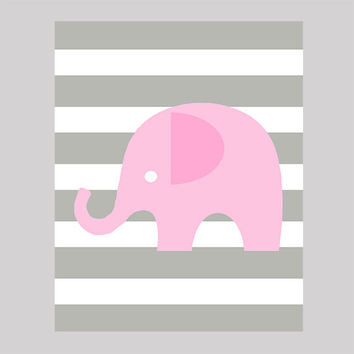 Instant Download Pink Elephant on Gray Stripes Print CUSTOM COLORS digital nursery decor art baby room decor print digital download 8x10