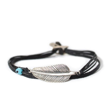 D'or 925 Sterling Silver Feather with Evil Eye 8'' Wax Nylon Cord Bracelet
