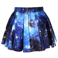 Universe Cosmic Galaxy Nebula Space Print Circle Skirt with Elastic Waist in Blue | DOTOLY