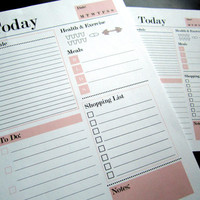Daily Planner Printable - Stylish and Minimal Day Organizer - A4, A5 and 8.5 x 11 - Pink