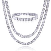 "Jewelry Kay style 18"" & 22"" Double Tennis Chain & 2 Row Bracelet  SET Men's Women's Silver Toned S"