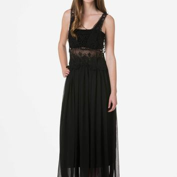 Cotton Lace Top with Poly Maxi Skirt