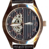 Croton Stainless Steel Rosetone Skeleton Automatic Watch