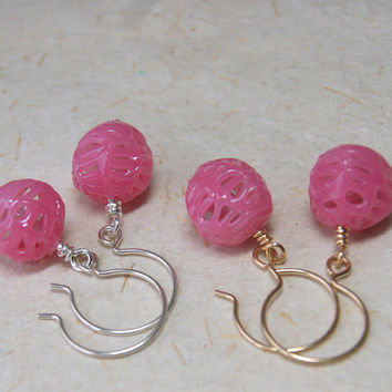 Strawberry Ice Earrings - Pink Spiderweb Bead Earrings - Vintage Lace Glass Beads - Sterling or Gold Fill Earwires - Spring Fashion
