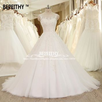 BEPEITHY Ball Gown Lace Wedding Dress Crystal Vinatge Princess Bridal Dresses Vestido De Novia 2017 Luxurious Wedding Gowns