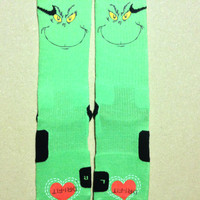 Grinch Christmas Custom Nike Elite Socks