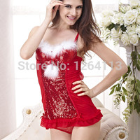 sales promotion 2014 free shipping  women Christmas  bra  & brief  set  sexy lingerie  red have B/C cup style no.CRIS00303
